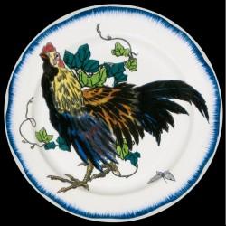 Bracquemond Coq Assiette en tole sérigraphiee