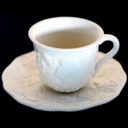 """Tasse à thé + sous tasse blanc cassé uni """"George Sand"""""""