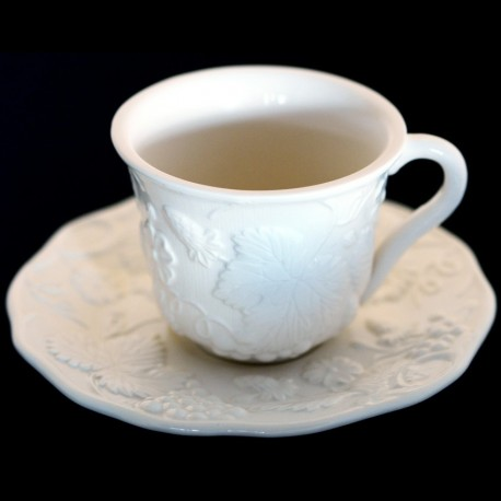 """Majolica white cup and saucer """"George Sand"""""""