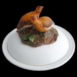 Perdrix rouges - assiette creuse avec cloche D 23 cm