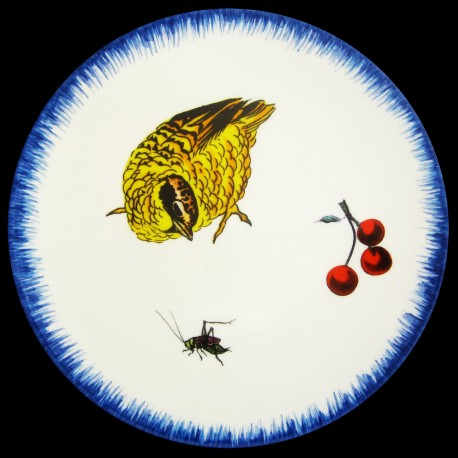 Assiette de table 26 cm Caille criquet et cerises