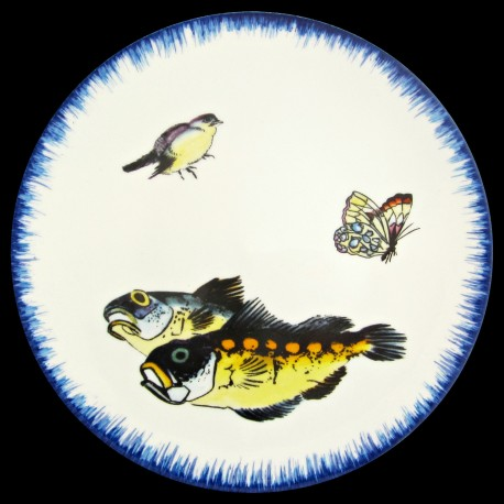 Assiette de table 26cm Dorades, moineau et papillon