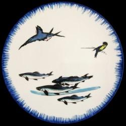 Assiette de table 26 cm Banc de maquereaux, papillon et sauterelle