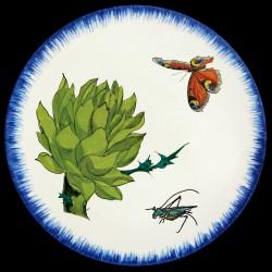 Plato llano Alcachofa, mariposa y saltamontes