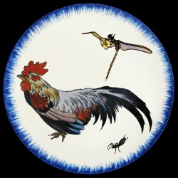 Plato de postre Gallo y libélula