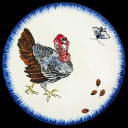 Plato de postre Pavo, mariposa y mariquitas