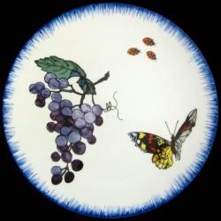 Plato de postre Racimo de uvas, mariposa y mariquitas