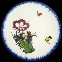 Plato de postre Amapola, mariposa y polluelo amarillo