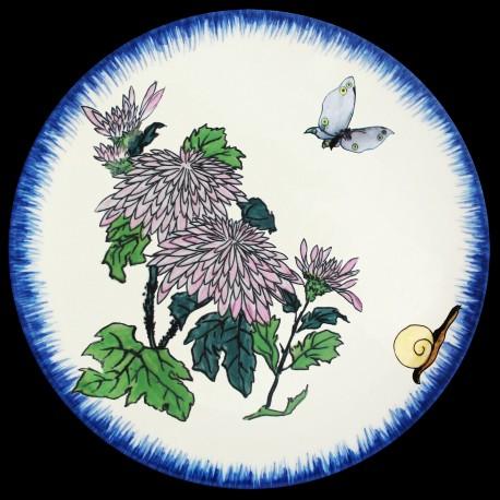 Assiette creuse 21,5 cm Chrysanthèmes, papillon et escargot