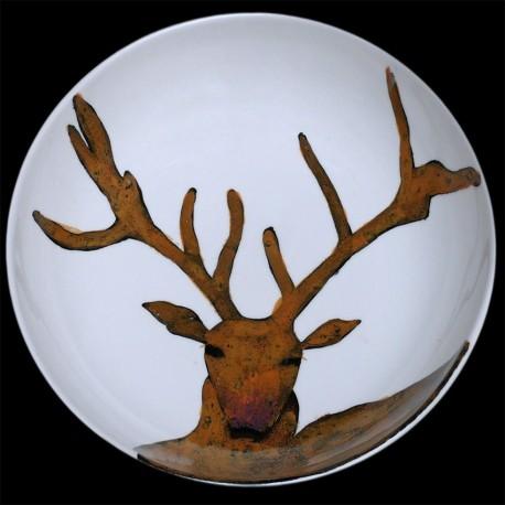 Cerf Grand plat rond creux D 38 cm