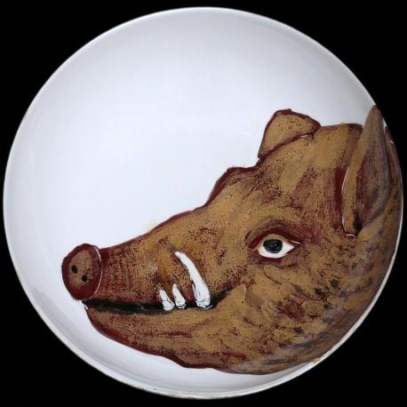 Wild boar big round deep dish D 38 cm