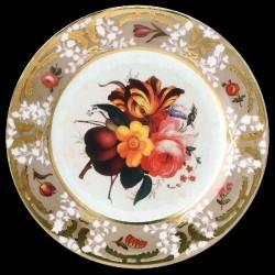 Assiette en tôle Chatsworth fleurs