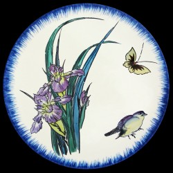 Soup plate 21,5 cm Purple iris, butterfly and sparrow