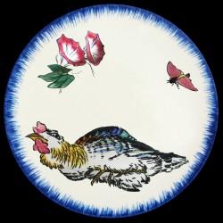 Plato hondo Iris malva, mariposa y gorrión