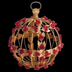 Boule de noël dorée et perles D 17 cm
