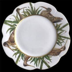 Limoges porcelain dinner plate Nymphea woodcock