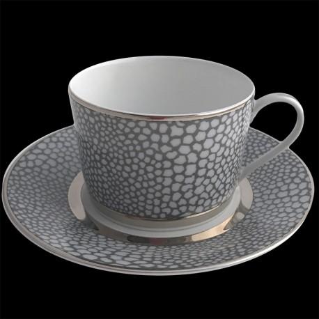 Tasse à thé et sous tasse 20 cl Royal Limoges collection Makasar