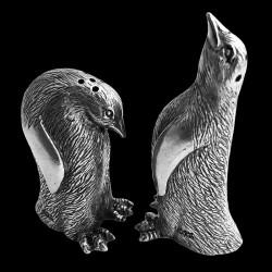 Pewter pingouin salt & pepper shaker