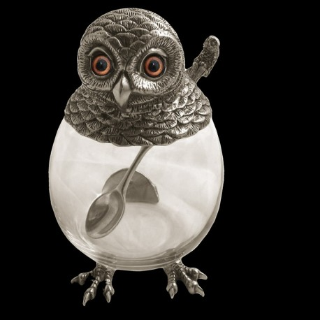 Jam jar decorated with a pewter owl & pewter owl spoon
