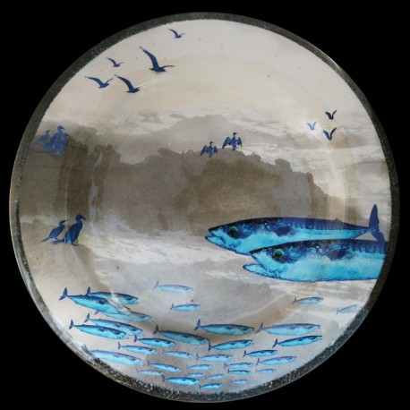Melamine Mackerel Ouessant collection dinner plate