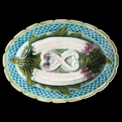 Plat ovale à asperges en barbotine fin du XIXe siècle
