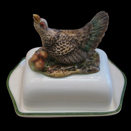 Butter dish with grouse on the top