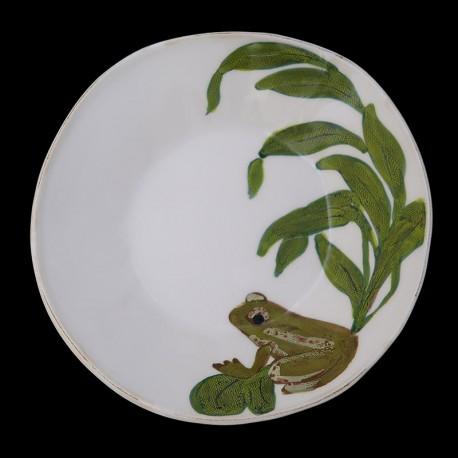 Majolica frog soup plate