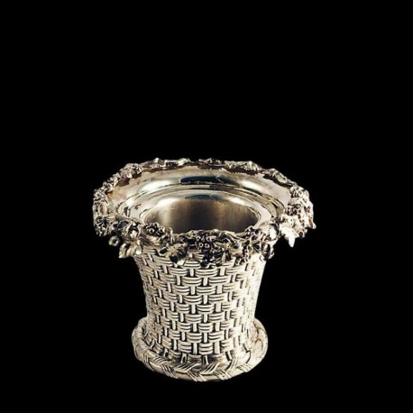 Champagne bucket in silver metal, wicker pattern and bunches of grapes, Elkington & co., Circa 1865