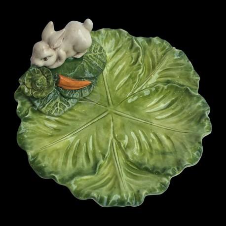 Majolica small plate cabbage Rabbit
