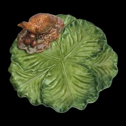 Majolica small plate cabbage Red partridge