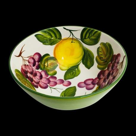 Majolica Lemons & Grapes Salad bowl size 2