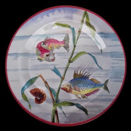 "Tin plate ""The Fantastic World"" Blue Fish"