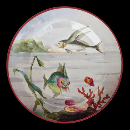 """Tin plate """"The Fantastic World"""" Flying fish"""