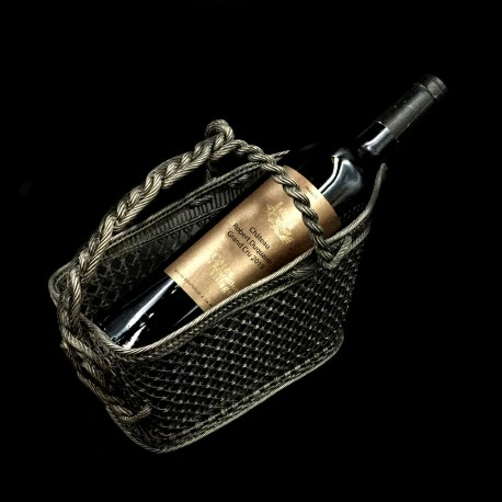 Panier à vin fil tressé métal argenté XIXe
