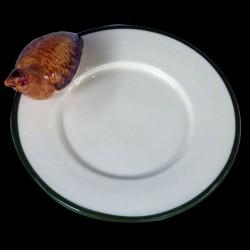 Perdrix rouge sur le bord d'une petite assiette à pain D16,6 cm