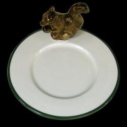 Ecureuil sur le bord d'une petite assiette à pain D16,6 cm