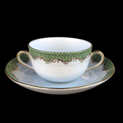 Soup cup and saucer Herend Fish scale rust