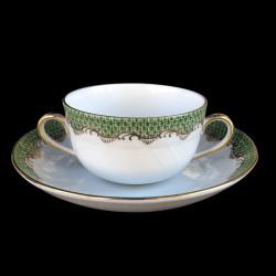 Tasse à bouillon et sous-tasse Herend Ecailles vertes