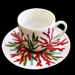 Tasse à café porcelaine Corail