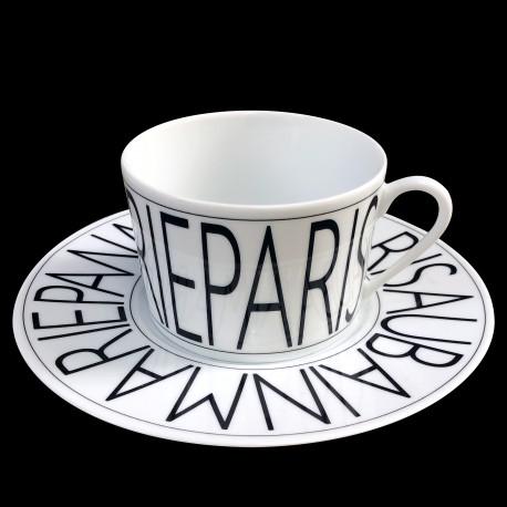 Tasse à déjeuner et sous-tasse porcelaine Graphique