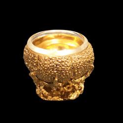 Salière oursin en étain doré à l'or fin