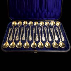 cuillères à œufs tête vermeil George Adams 1863 Coffret de18