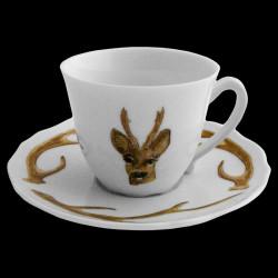 Tasse à café et sous tasse bois cerf porcelaine de Limoges