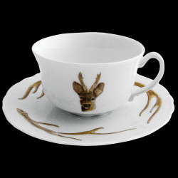 Tasse à thé et sous tasse bois cerf porcelaine de Limoges