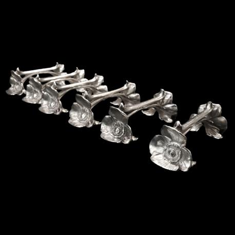 6 porte-couteaux Pavot en métal argenté Gallia