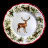 Majolica Deer dessert plate Red nose