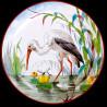 """Assiette en tôle """"Les Oiseaux"""" Cigogne"""