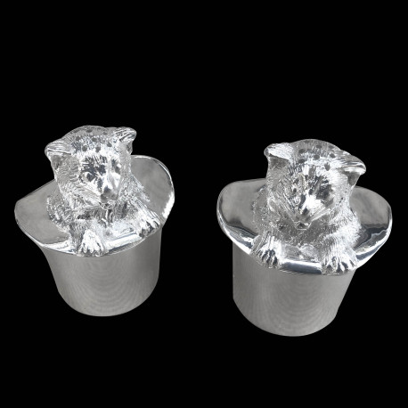 Silver plated Cat & Hat salt and pepper