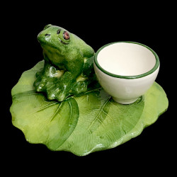 Coquetier faïence grenouille