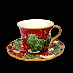 """Tasse à thé + sous tasse rouge """"Georges Sand"""""""